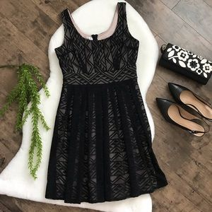 Maggy London Black Lace Overlay Swing Dress